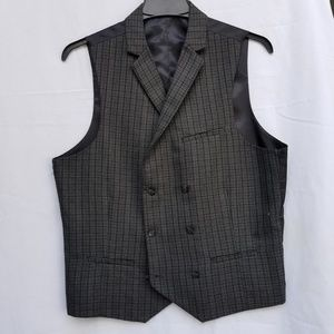 Grey and Black Small Plaid Double-breasted Vest
